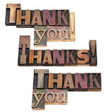 Thank you in letterpress type stock photography