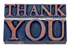 Thank you in letterpress wood type Royalty Free Stock Photos