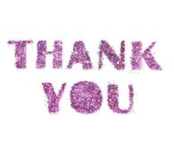 Thank You, letters of purple glitter isolated on white background stock photography