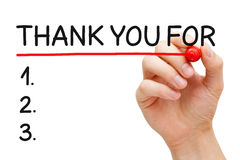 Thank You For List. Hand underlining Thank You For List with red marker isolated on white Stock Photo