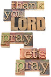 Thank you Lord in wood type. Thank you Lord and pray - isolated text in vintage letterpress wood type printing blocks stock image