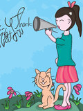 Thank You in a Loud Voice_eps. Illustration of my loud voice and always repeat, cat, flowers and grasses scared, no want hear. Thank you words is your sample stock illustration