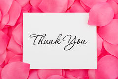Thank You with Love. A thank you card sitting on a pink flower petal background, thank you with love Stock Images