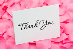 Thank You with Love. A thank you card sitting on a pink flower petal background, thank you with love Royalty Free Stock Photos