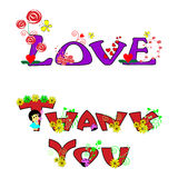 Thank you and love text Royalty Free Stock Photo