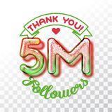 Thank you 5m followers. Color Glass digits template of thankfulness to followers on transparent background. Suitable for any social channels. Vector illustration Stock Photo