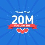 Thank you 20000000 or 20m followers. Congratulation card. Web Social media concept. Blogger celebrates a many large. Number of subscribers vector illustration
