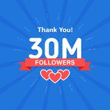 Thank you 30000000 or 30m followers. Congratulation card. Web Social media concept. Blogger celebrates a many large. Number of subscribers stock illustration