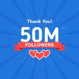 Thank you 50000000 or 50m followers. Congratulation card. Web Social media concept. Blogger celebrates a many large. Number of subscribers vector illustration