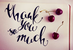 Thank you so mach. Hand lettering. Black inscription on white background, three cherries Royalty Free Stock Photo