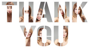 Thank you made of female portraits Stock Images