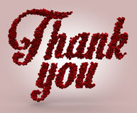 Thank you made of red roses Stock Image