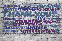Thank you in many langauges on Royalty Free Stock Images