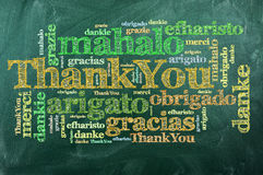 Thank you,merci. Thank you in different languages on green chalkboard vector illustration
