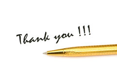 Thank you message. And pen isolated on white stock photography