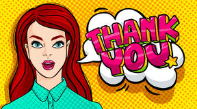 Thank you Message. And beautiful young woman with open mouth in retro pop art style. Vector illustration Stock Image