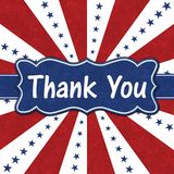 Thank You message with blue stars with red and white burst lines stock images