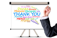 Thank you message in different languages. Thank you message in many different languages stock photos