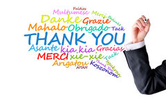 Thank you message in different languages. Thank you message in many different languages Stock Images