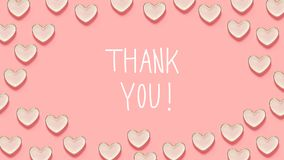 Thank You message with many heart dishes. On a pink background Stock Image