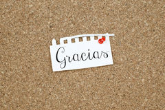 Thank You Message Note in Spanish Language Stock Images