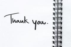 Thank you message on notebook paper Royalty Free Stock Photo