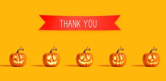 Thank you message with orange pumpkins royalty free illustration