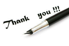 Thank you message and pen Stock Image