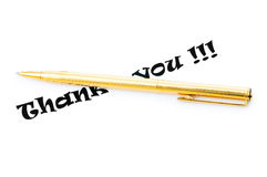 Thank you message and pen Stock Photo