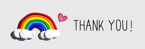 Thank You message with rainbow and heart