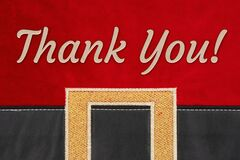 Thank you message on red Christmas Santa suit