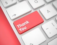 Thank You - Message on Red Keyboard Keypad. 3D. Aluminum Keyboard Key Showing the Inscription Thank You. Message on Keyboard Red Key. Thank You Written on Red Royalty Free Stock Image