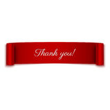 Thank you message on red ribbon  on white Royalty Free Stock Images