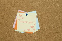 Thank you message on reminder note with hearts Stock Images