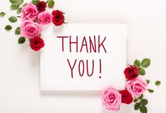 Thank You message with roses and leaves. Top view flat lay Stock Photos