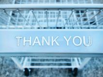 Thank you message on a shopping cart stock images