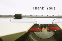 Thank you. Message on typewriter paper, for appreciation concepts Royalty Free Stock Images