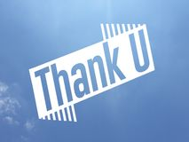 A thank you message in white color over a blue sky background stock illustration