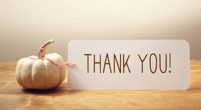 Thank you message with a small pumpkin. Thank you message with a white small pumpkin stock photography