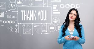 Thank you message with woman holding a smartphone