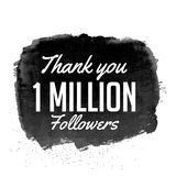 Thank you 1 million followers vector design with black watercolo. R vector illustration