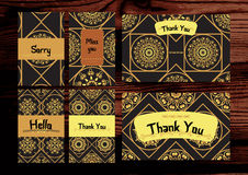 Thank you, miss you, sorry cards set. Isolated on the wood backg Stock Photos