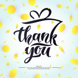Thank you. Modern hand drawn lettering phrase and festive abstract background with circles. Vector template for design Stock Images