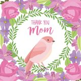 Thank you mom card cute bird weath leaves flowers decoration