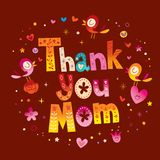 Thank You Mom greeting card royalty free illustration