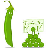 Thank You Mom Greeting with Peapod and Peas Royalty Free Stock Photos