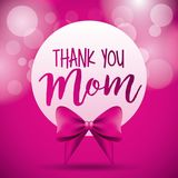 Thank you mom label bow pink circles blurred. Vector illustration Stock Photography