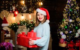 Thank you. morning before Xmas. Christmas tree. Winter holiday. Girl in santa claus hat. Christmas shopping. Happy new