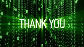 Thank you motion background. Thank you text on binary matrix background. Motion Background. Available in 4K video render footage stock footage