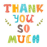 Thank you so much. Cute greeting card Stock Images